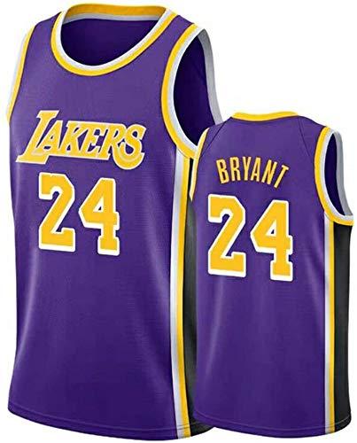 AMJUNM Camiseta para hombre y mujer – Lakers 24# Kobe Bryant Jerseys transpirable bordado baloncesto Swingman Jersey (color: morado A, talla: L)
