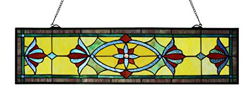 Happy Living Time 35 Inch Tiffany Style Stained Glass Window Panel with Hanging Chain (35' X 9')