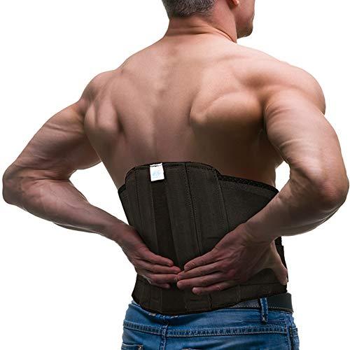 Lower Back Brace Lumbar Support Belt - Back Support Belt for Men & Women w/Adjustable Straps - BackBrace for Lower Back Pain Relief w/Removable Rods - Waist Support Belt (Black, 38' - 48')