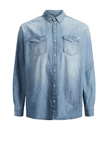 JACK & JONES Herren Jjesheridan Shirt L/S Plus Noos Freizeithemd, Medium Blue Denim, 4XL EU