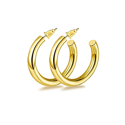 ITME Gold Hoop Earrings 316L Surgical Stainless Steel Hypoallergenic Lightweight Chunky Open Hoop Earrings for Women and Girls(Gold)