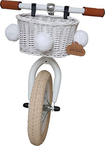 Fahrradkorb für Kinder Flechtwaren Flechtkorb Kinderkorb in weiß Farbe B: 24 cm, T: 18 cm, H: 14 cm