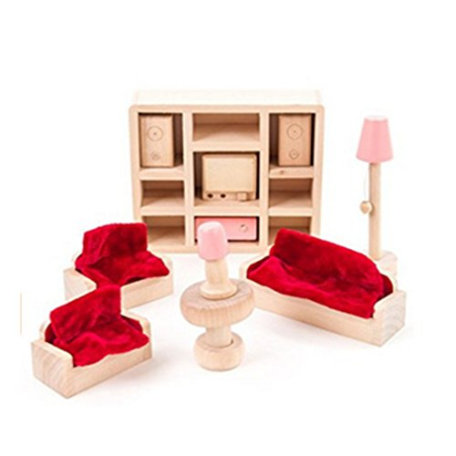 HJ Wood Family Sitting Room Dollhouse Furniture Set, Pink Miniature House Furniture Dollhouse Decoration Accessories with 4 People Wooden Family Play Dolls Pretend Play Kids Children Toy -  JH, 43221-7593