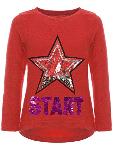 BEZLIT Kinder Mädchen Pullover Sweatshirt Pulli Wende-Pailletten Sweater Langarm-Shirt 30015 Rot 128