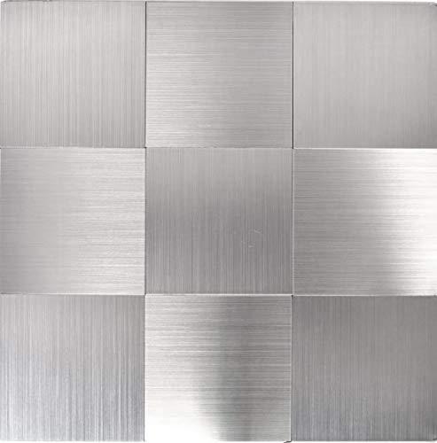 Mosaik Fliese selbstklebend Aluminium silber metall für WAND KÜCHE FLIESENSPIEGEL THEKENVERKLEIDUNG Mosaikmatte Mosaikplatte