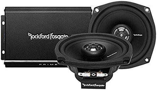 Rockford Fosgate R1-HD2-9813 140W 2-Channel Harley Motorcycle Amp+Speaker System,BLACK