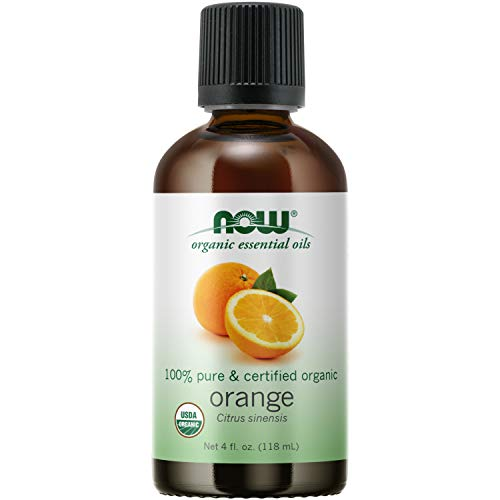 NOW Essential Oils, Organic Orange Oil, Uplifting Aromatherapy Scent, Cold Pressed, 100% Pure, Vegan, Child Resistant Cap, 4-Ounce