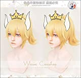 TCYLZ Princesse Bowsette Cosplay perruque or queue de cochon Super Mario pêche Koopa Bowser jeu de rôle adulte cheveux synthétiques