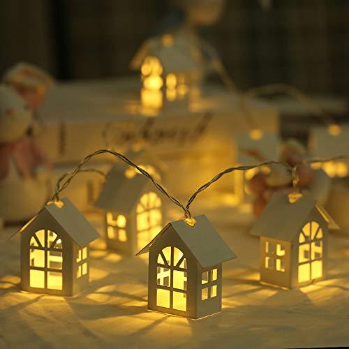 Lixada 10LEDS Luz de Cuerda de Casita de Madera Navidad Lámpara de...