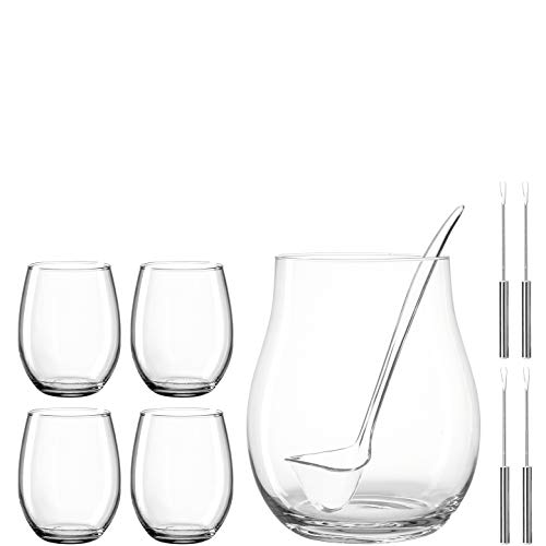 LEONARDO HOME 066628 LIMITED EDITION Bowle mit Schöpfkelle, Gläsern und Fruchtspießen 10tlg, Materialmix
