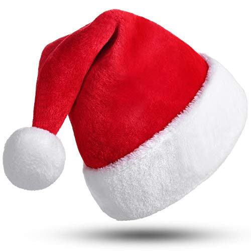 CITÉTOILE Cappello da Babbo Natale, Cappello di Natale per Adulti, Cappellino di Natale per Donna Uomo, Cappello Natalizio di Velluto, Costumi di Babbo Natale, Natale Decorazione, Berretto Rosso