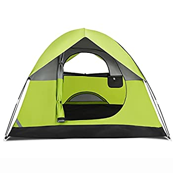 COSTWAY Tente de Camping 2 Personnes Double Couche Tissu Oxford Imperméable Sac 2 Cordes Coupe-Vent 2 Fenêtres en Maille Filet (212 x 154 x 124 cm)
