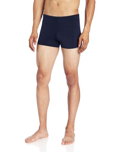 Kanu Surf Men's Solid Square Leg Swimsuit, Navy, 36