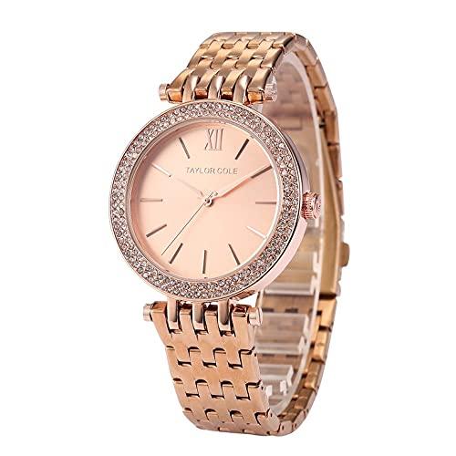 Reloj de cuarzo con correa de acero y reloj de cuarzo con anillo de diamante, impermeable, casual, para hombres y mujeres