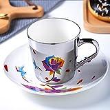 NBXLHAO Taza Hecha a Mano Taza Taza de cerámica Espejo reflexión de café Taza de café Taza de café espectáculos reflexiones espectáculas Tazas de cerámica y platillos Estilo Europeo café Bueno,F