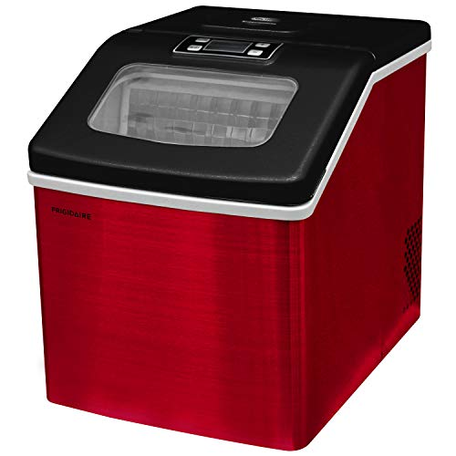 Frigidaire EFIC452-SSRED XL Maker, Makes 40 Lbs. of Clear Square Ice Cubes A Day, Stainless, Red Steel