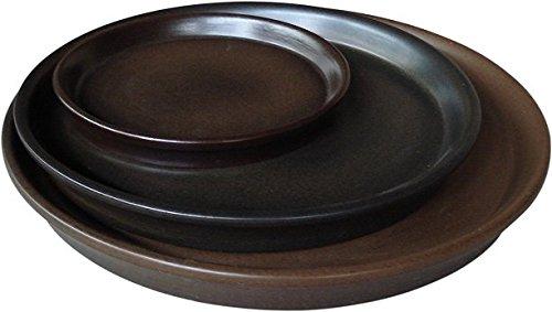 K e K girello / Sottovaso fioriera rotonda per Andromeda 28x25 cm -Diametro 22x2,6 cm marrone scuro opaco Gres (in ceramica di alta qualità).