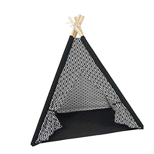 Huisdier Teepee Huis Tenten Hout Canvas Tipi Vouw weg Tent Meubels Kat Bed Nest Kennel Verwijderbaar en Wasbaar (inclusief pad)