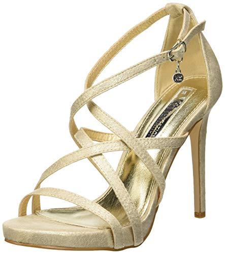 XTI 35054, Zapatos con Tacon y Correa de Tobillo para Mujer, Rosa Nude, 39 EU