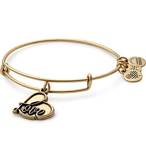 Alex and Ani Path of Symbols Expandable Bangle for Women, Love Charm, Rafaelian Gold Finish, 2 to 3.5 in