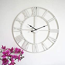 Hmcozy Large Wall Clock, 16/24-inch Dia Large Iron Metal Vintage Retro Indoor Wall Clock with Roman Numerals - Farmhouse Decorative Wall Clock for Home (White),White,40cm/16in