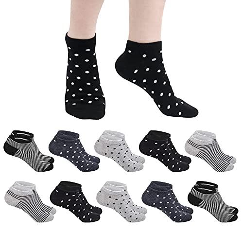 Chalier 10 Paar Damen Sneaker Socken Baumwolle Atmungsaktive Socken mit Streifen & Punkten