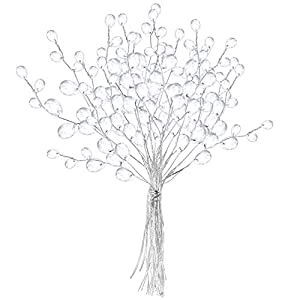VOSAREA 50 Stems Artificial Bouquets Acrylic Bead Drops Flower Branches Bead Sprays for Wedding DIY Crafts (16cm, White)