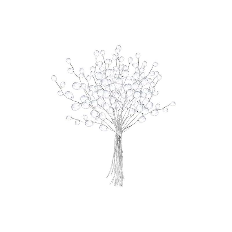 silk flower arrangements vosarea 50 stems artificial bouquets acrylic bead drops flower branches bead sprays for wedding diy crafts (16cm, white)