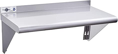 Profeeshaw Commercial Wall Shelf of Stainless Steel 12×24 NSF Certified Utility Shelving with Backsplash and 2 Brackets for Restaurant, Bar, Kitchen and Garage