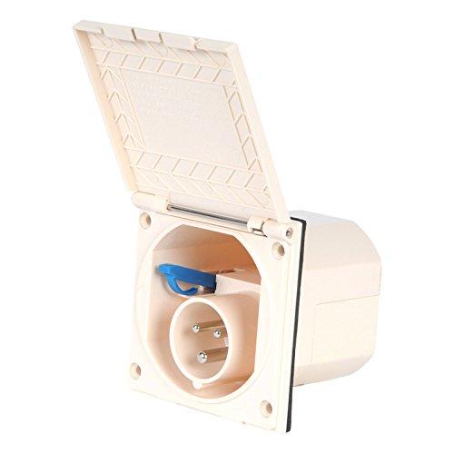 wamovo CEE Aussensteckdose beige Spritzwasser geschützt IP 44 200-240V, 16A, 3 polig für Wohnwagen, Wohnmobil oder Boot