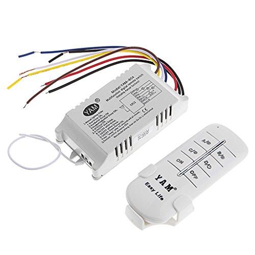Qirun Interruptor de Control Remoto de luz de lámpara de Receptor inalámbrico de 4 vías ON/Off 220V