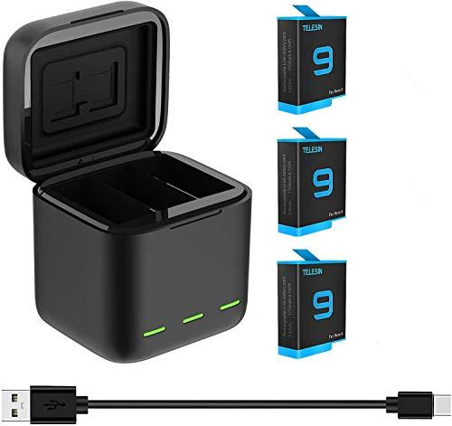TELESIN Cargador triple y caja de almacenamiento de batería con cargador de 3 canales con 2 baterías recargables de iones de litio para GoPro Hero 9 Black (cargador + 3 baterías)