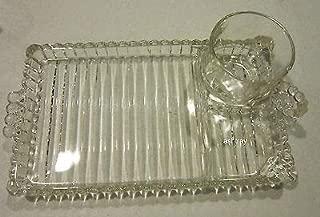 Vintage Depression Glass Hazel Atlas Snack Sip & Smoke Set From Orchard Crystal Line