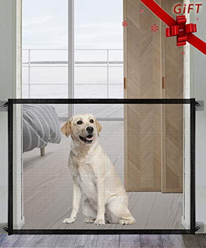 Queenii Pet Magic Gate, Baby Safety Gate, Portable Folding Mesh Dog Gate, Safe Guard Install Anywhere, No Smell Safety Fence for Hall Doorway Stair Tall 78cm* Wide 102.8cm-Black