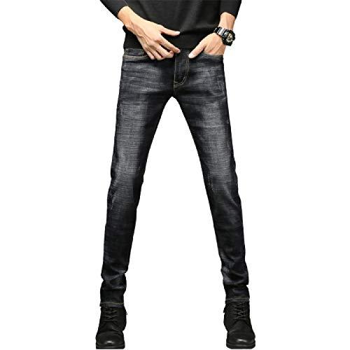 Huntrly Pantalones Vaqueros para Hombre Pantalones Vaqueros Ajustados elásticos de Pierna Recta Retro Europeos y Americanos Pantalones Vaqueros Ajustados Casuales de Todo fósforo 29