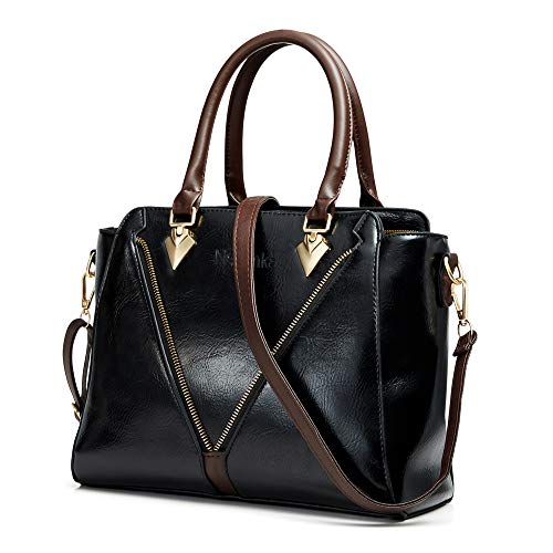 Handbags for Women Nevenka Women's Top Handle Purses and Handbags Fashionable Soft PU Leather Women's Shoulder handbags (Black)