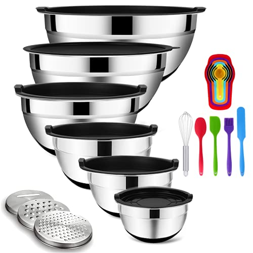Mixing Bowls with Airtight Lids, 20PCS Stainless Steel Mixing Bowls Set, Nesting Bowls with 3 Grater Attachments, Measurement Marks&Non-Slip Bottoms, Size7, 4, 3, 2, 1.5, 1QT Bowls for Baking&Prepping