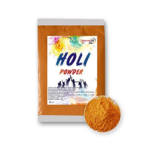 INDIAN STORE 24 1 X Orange Holi Gulal Pulver wasserlöslich Natural Festival Fotoshooting Rangoli Colors Regenbogen Powder holy farbbeutel Glitzer Farbpulver Fotos