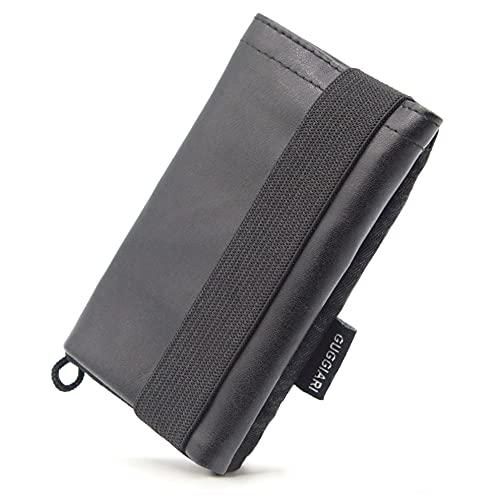 Mini Cartera de Cuero PU y Microfibra con Protection Antifraudes RFID para Hombre y Mujer - Billetes, Documentos, Tarjetas de crédito y Llaves estarán Seguras en la Cartera Antirrobo. (Cuero PU Black)