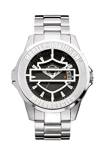 Harley Davidson 76B143 - Reloj de Cuarzo para Hombre, Correa de Acero Inoxidable Color Plateado