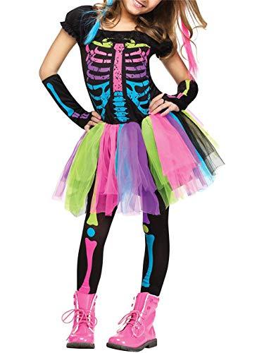 Lecoyeee Disfraz de Esqueleto Halloween Niña Disfraz Día de los Muertos Disfraz Señorita Catrina Conjuntos 3 Piezas Falda Arco Iris+Guante+Pantalones Esqueleto Vestidos con Tutú 3-10 años