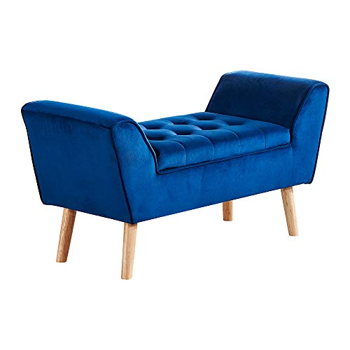 BonChoice Luxury Velvet Storage Bench with Button Tufted Seat for Bedroom, Living Room, Hallway, End of Bed Storage Bench, Window Seat Bench, Sofa Bench Footstool Ottoman Chaise (Velvet Blue)