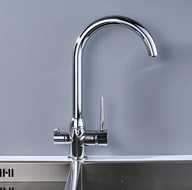 CZOOR Chrom 360 Grad drehen reinigen Küchenarmatur Deck montiert Küchenmischbatterie Einhand-Trinkwasserhahn für die Küche