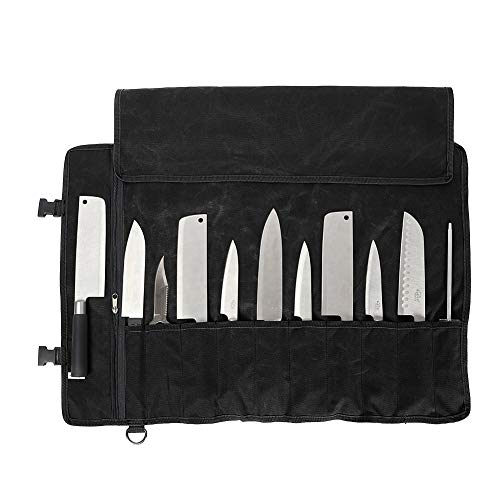 """Chefs Knife Bag(11 Slots), Knife Roll for Kitchen Knife Tools Up To 18.8"""", Heavy Duty Waxed Canvas Japanese Knife Set Case, Portable Travel Tool Roll Pouch for Meat Cleaver, Knife Sharpener (Black)"""