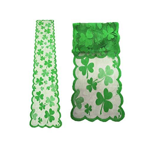 VALICLUD 2 Piezas St. Día de Patrick Camino de Mesa Irlandés Trébol Bordado Mantel Verde Trébol de Encaje Cubierta de Mesa Topper Tocador Bufanda para La Cocina Comedor Decoración de La