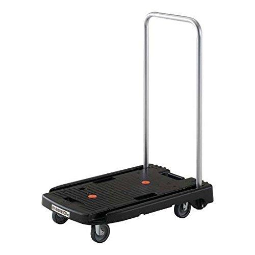 『TRUSCO(トラスコ) 小型樹脂台車 こまわり君 ブラック 600x390 省音タイプ MP6039NBK 折りたたみ 軽量 静か 静音』のトップ画像