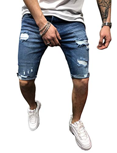 IDEALSANXUN Mens Ripped Jean Shorts Slim Destroyed Denim Shorts (36, Blue)