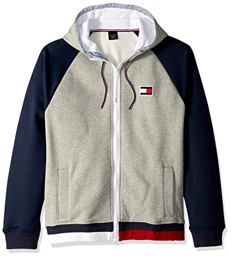 Tommy Hilfiger Herren Adaptive Hoodie Sweatshirt with Magnetic Zipper Kapuzenpulli, Sport Grey Heather, Groß
