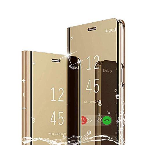 MAYO für LG K50/Q60 Hülle, Plating Smart Clear View Hülle Flip Handyhülle mit Standfunktion Anti-Scratch Bookstyle Tasche Schutzhülle für LG K50/Q60 (Gold)