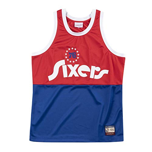 Mitchell & Ness NBA Team Heritage Tank (Phil. 76ERS - Red/Blue, XS)